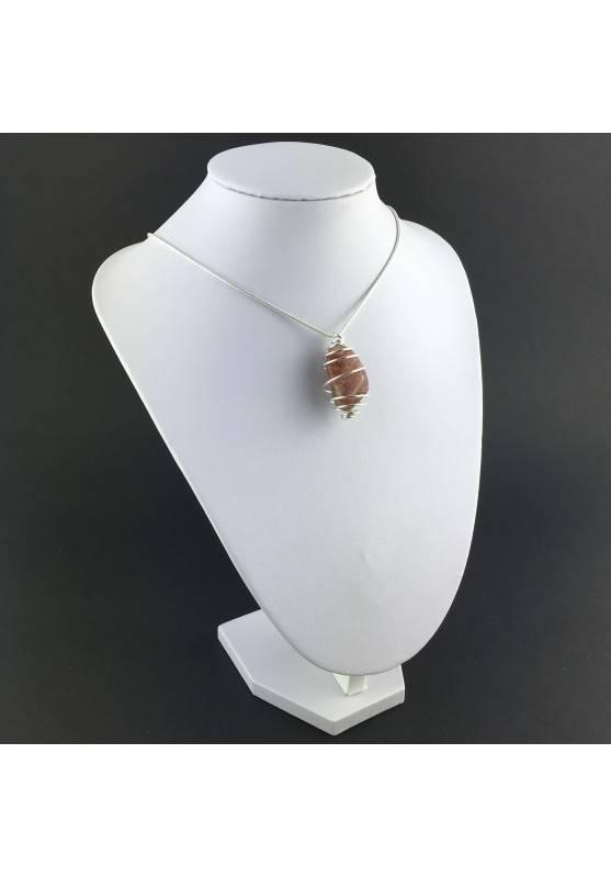 Pendant in HEMATOID QUARTZ - CANCER Zodiac Silver Plated Spiral Gift Idea A+-3