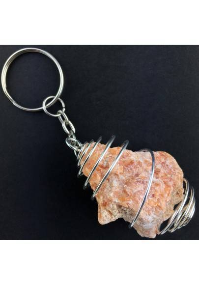 Rough ORANGE CALCITE Keychain Keyring Hand Made on SILVER Plated Spiral A+-1