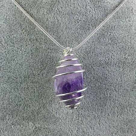 Dogtooth AMETHYST Hand Made Pendant on Silver Plated Spiral A+-1