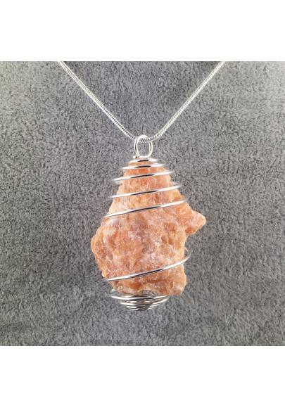 ORANGE CALCITE Rough Pendant Hand Made on Silver Plated Spiral Minerals Healing-1