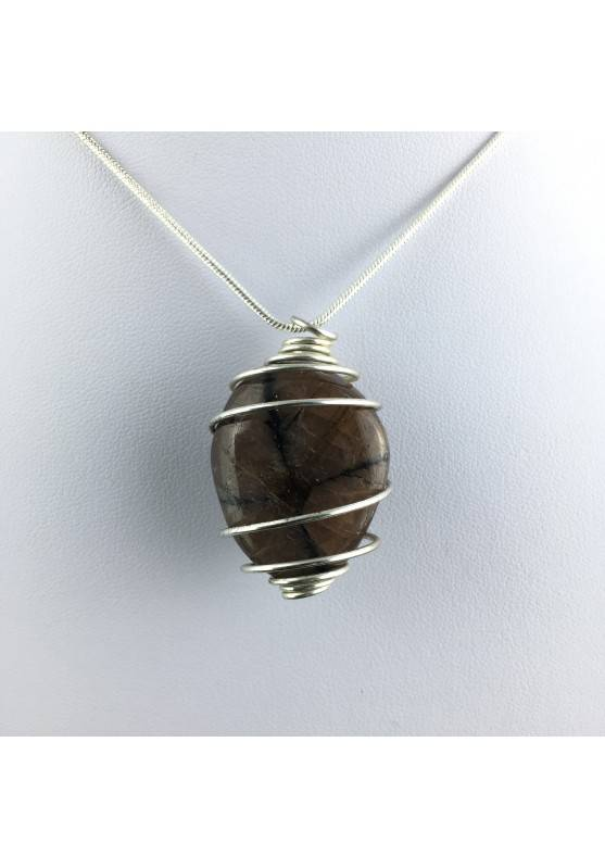 CHIASTOLITE Hand Made Pendant on Silver Plated Spiral Necklace A+-1