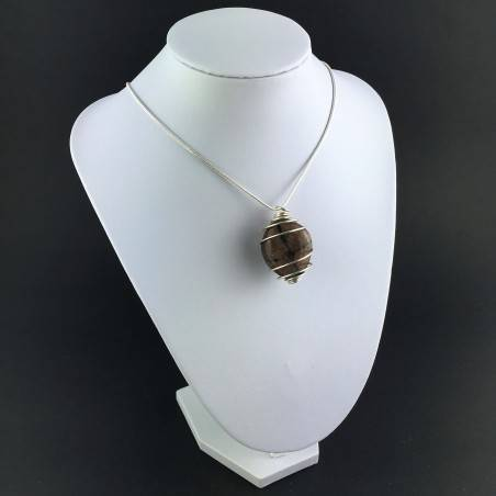 CHIASTOLITE Hand Made Pendant on Silver Plated Spiral Necklace A+-3