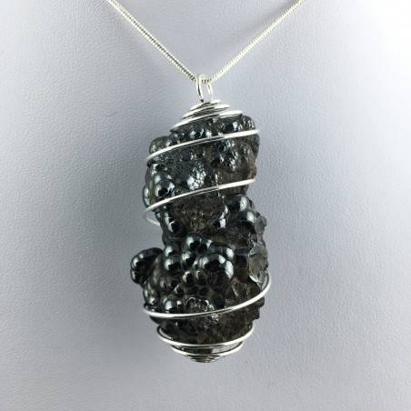 Pendant Globular Hematite Hand Made on Silver Plated Spiral Healing Crysyals A+-1