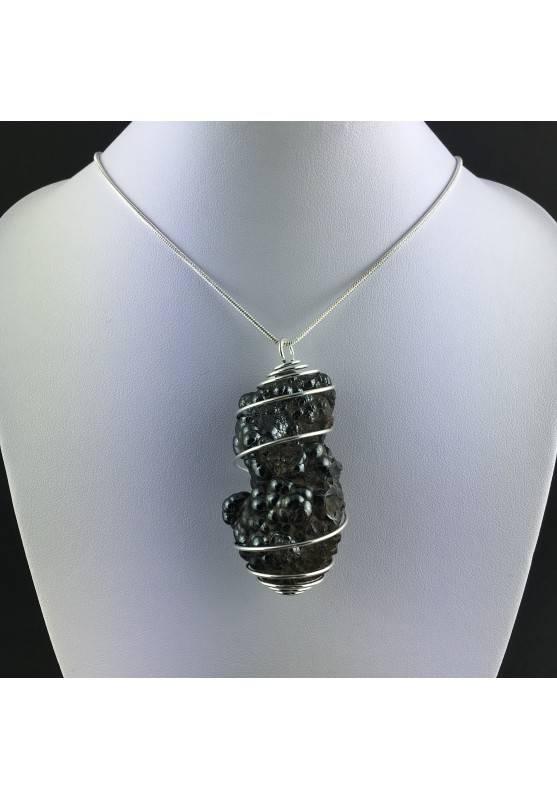 Pendant Globular Hematite Hand Made on Silver Plated Spiral Healing Crysyals A+-2