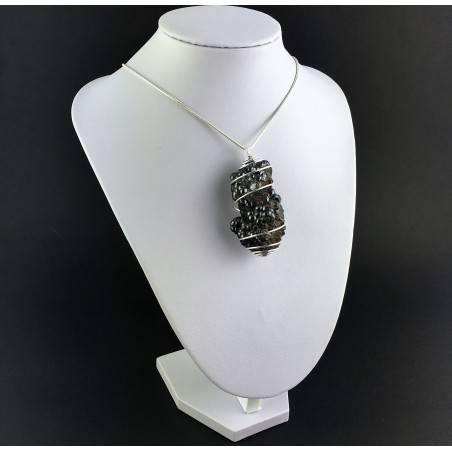 Pendant Globular Hematite Hand Made on Silver Plated Spiral Healing Crysyals A+-3