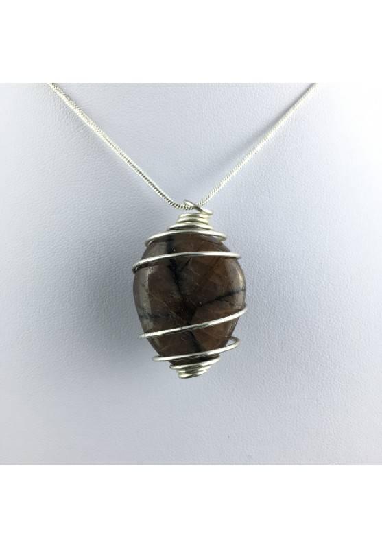 CHIASTOLITE Pendant - LIBRA GEMINI Zodiac SILVER Plated Spiral Crystal Bead Stones A+-1
