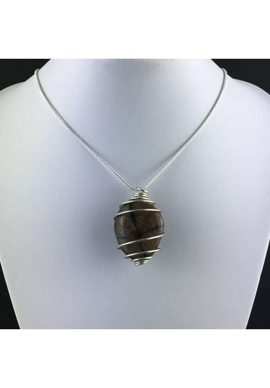 CHIASTOLITE Pendant - LIBRA GEMINI Zodiac SILVER Plated Spiral Crystal Bead Stones A+-2