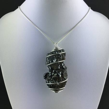 Pendant Globular Hematite - SCORPIO Zodiac Silver Plated Spiral Charm Chain-2