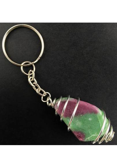 Tumbled Ruby ZOISITE Keychain Keyring Hand Made on Silver Plated Spiral Healing-1