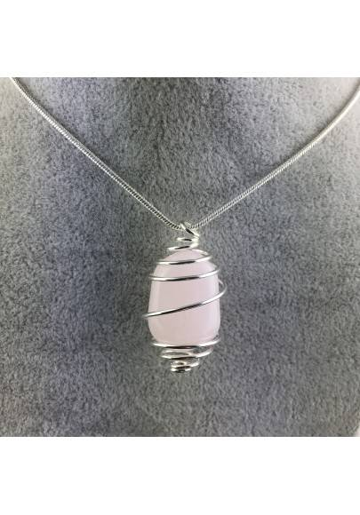 MANGANO CALCITE Pendant Hand Made on Silver Plated Spiral Tumble Stone A+-1