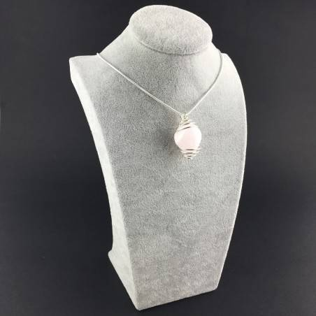 MANGANO CALCITE Pendant Hand Made on Silver Plated Spiral Tumble Stone A+-6