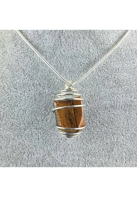 Tumbled Tiger's Eye Pendant Hand Made on Silver Plated Spiral A+-1