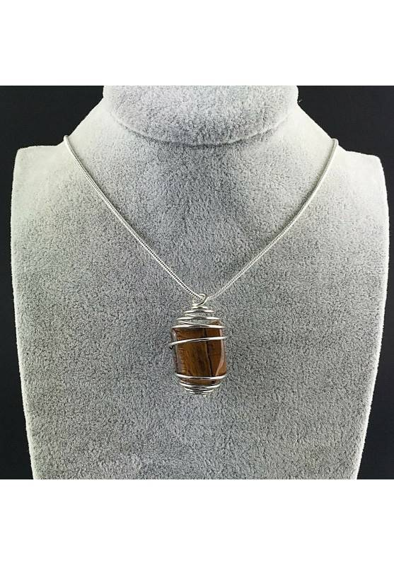 Tumbled Tiger's Eye Pendant Hand Made on Silver Plated Spiral A+-2