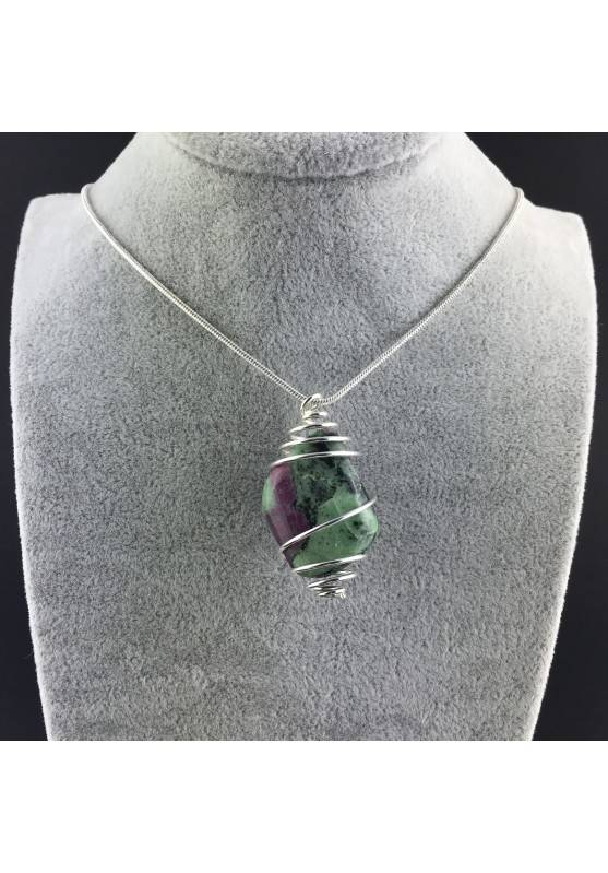 ZOISITE with RUBY Pendant Hand Made on Silver Plated Spiral Thumb Stone A+-5