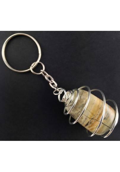 Picture Jasper SANDSTONE Keychain Keyring - ARIES Zodiac SILVER Plated Spiral A+-1