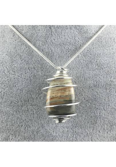 Ciondolo DIASPRO PAESAGGIO SANDSTONE Montata Artigianalmente Spirale Argento A+-1