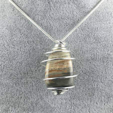 Pendant in Picture Jasper SANDSTONE Hand Made on SILVER Plated Spiral A+-1