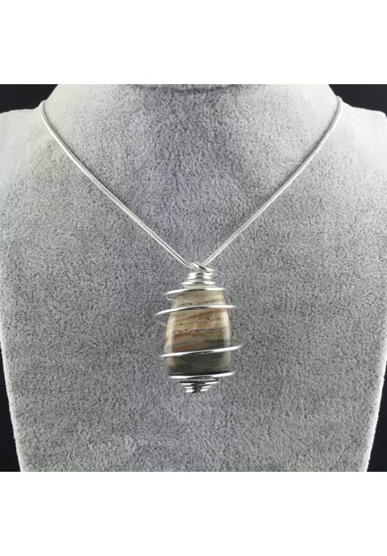 Pendant in Picture Jasper SANDSTONE Hand Made on SILVER Plated Spiral A+-2