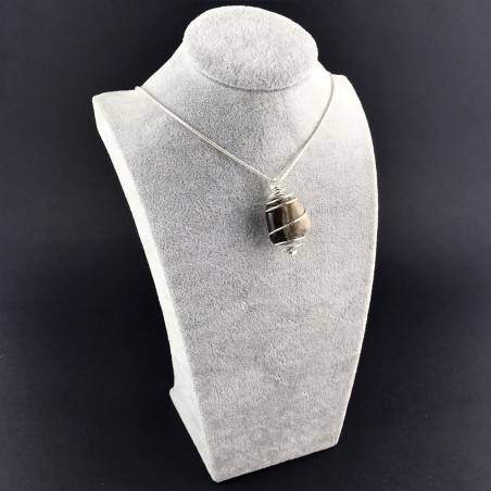Pendant in Picture Jasper SANDSTONE Hand Made on SILVER Plated Spiral A+-6