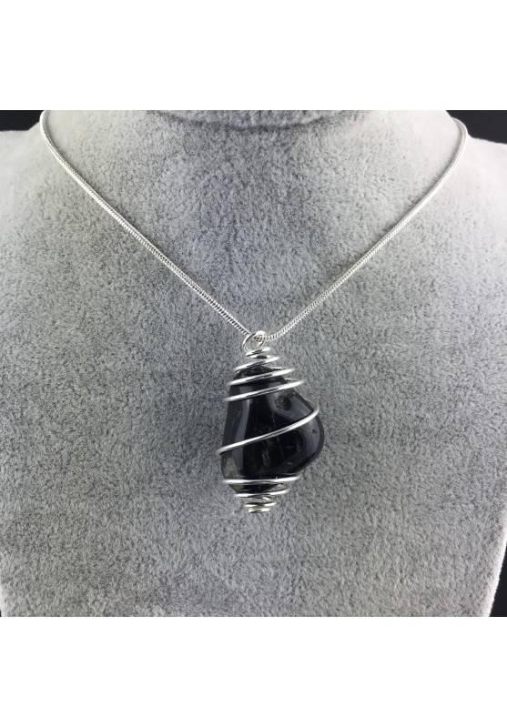 Ciondolo ONICE NERO Montata Artigianalmente Spirale Placcata Argento A+-2