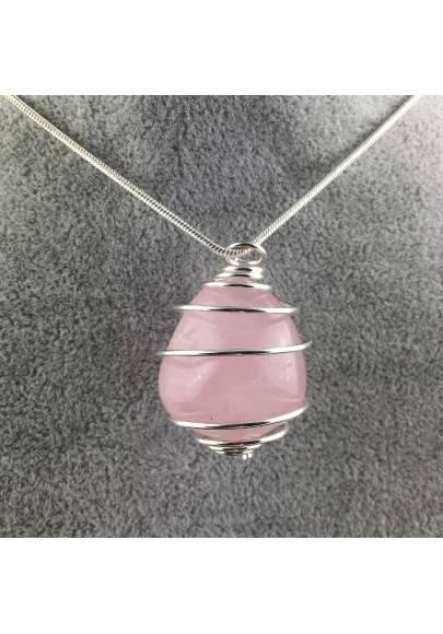 Ciondolo QUARZO ROSA Montata Artigianalmente Spirale Placcata Argento A+-1