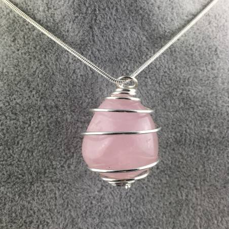 Pendant Rose Quartz Minerals Hand Made on Silver Plated Spiral A+-1