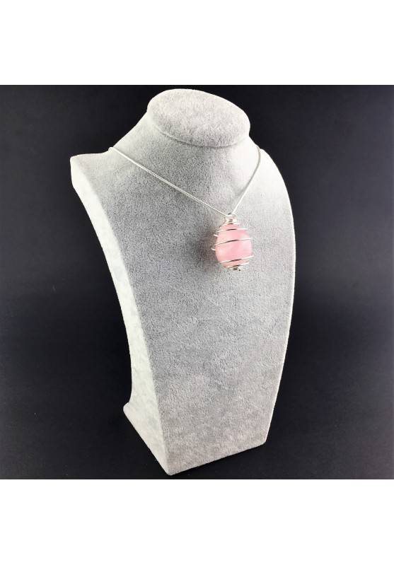 Pendant Rose Quartz Minerals Hand Made on Silver Plated Spiral A+-3