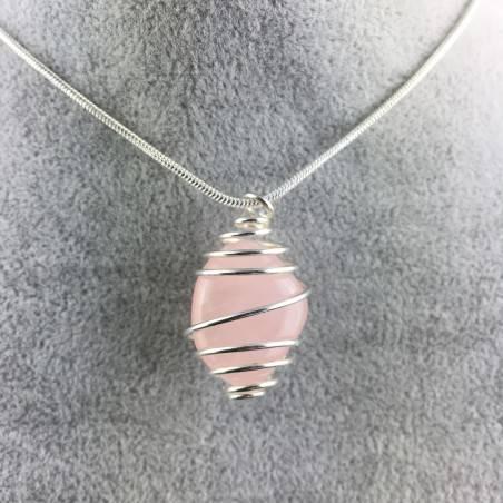 Ciondolo QUARZO ROSA Montata Artigianalmente Spirale Placcata Argento A+-4