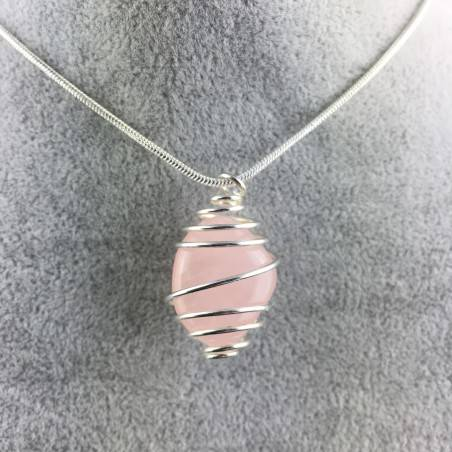 Pendant Rose Quartz Minerals Hand Made on Silver Plated Spiral A+-4