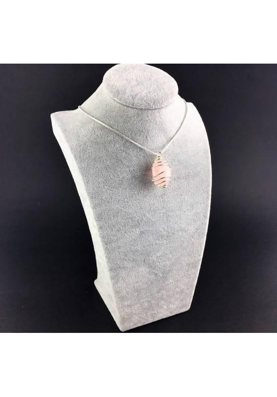 Ciondolo QUARZO ROSA Montata Artigianalmente Spirale Placcata Argento A+-6