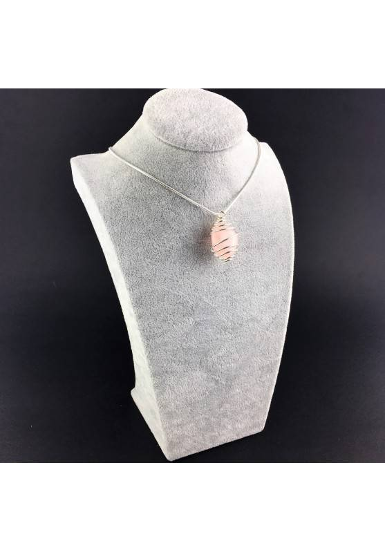 Pendant Rose Quartz Minerals Hand Made on Silver Plated Spiral A+-6