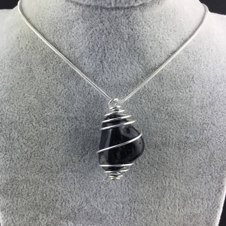 Black Onix Pendant - CAPRICORN Zodiac Silver Plated Spiral A+-2