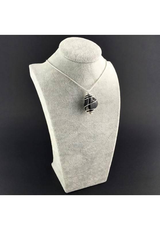 Black Onix Pendant - CAPRICORN Zodiac Silver Plated Spiral A+-3
