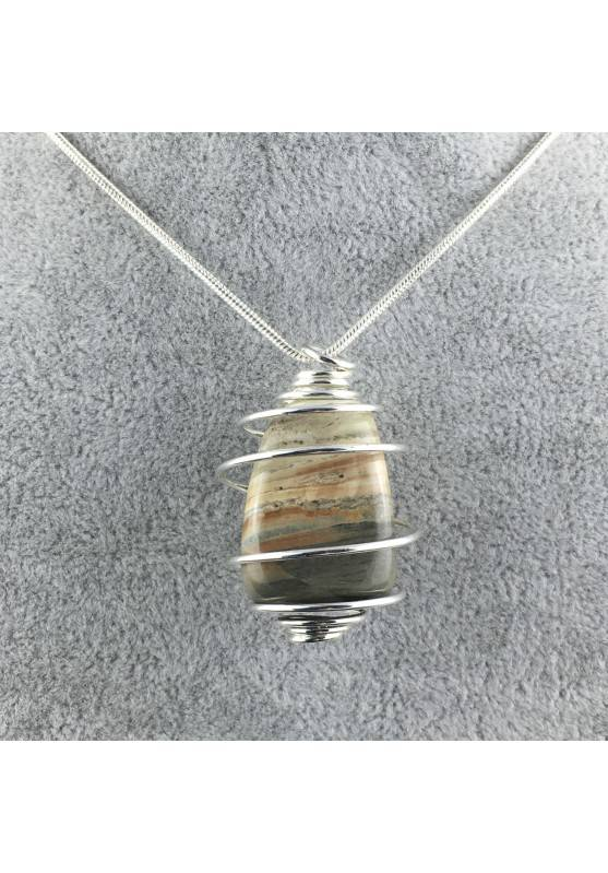 Pendant in Picture Jasper SANDSTONE - ARIES Zodiac Silver Plated Spiral-1
