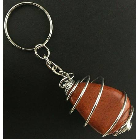 RED Jasper Keychain Keyring Hand Made on Silver Plated Spiral A+-2