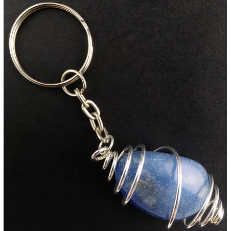 QUARTZ Blue DUMORTIERITE Keychain Keyring Hand Made on SILVER Plated Spiral A+-1