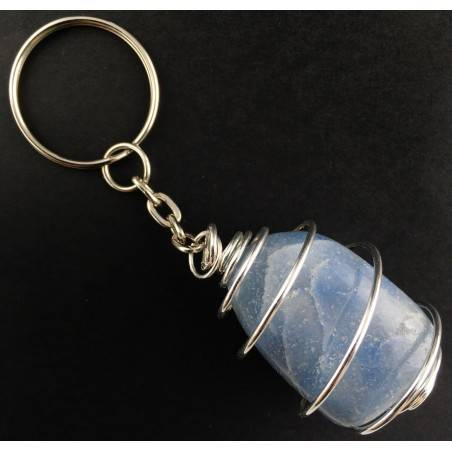 QUARTZ Blue DUMORTIERITE Keychain Keyring Hand Made on SILVER Plated Spiral A+-2