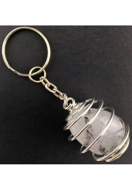 TOURMALINE in QUARTZ Keychain Keyring - CANCER SCORPIO Zodiac SILVER Plated Spiral A+-2