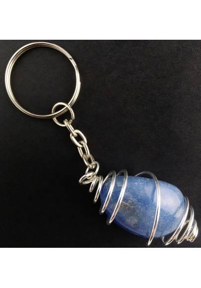 QUARTZ Blue DUMORTIERITE Keychain Keyring - AQUARIUS Zodiac Silver Plated Spiral-1