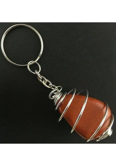 RED Jasper Keychain Keyring - ARIES Zodiac Silver Plated Spiral Gift Idea A+-2