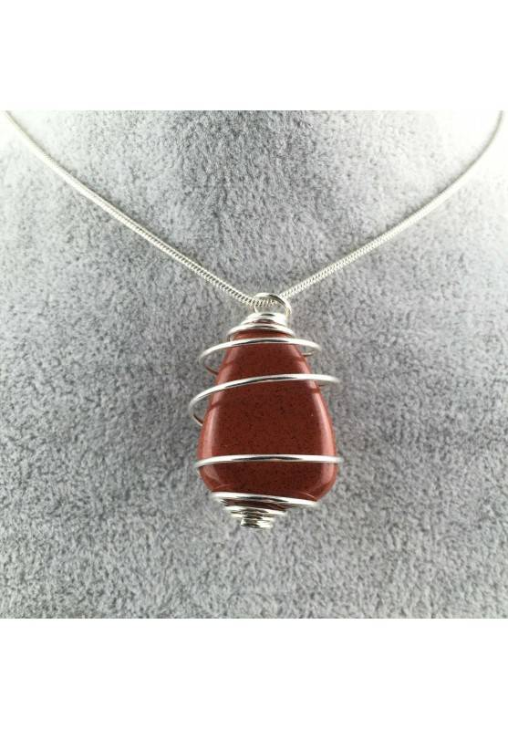 Pendant in Red Jasper Hand Made on Silver Plated Spiral Crystal Healing Minerals A+-2
