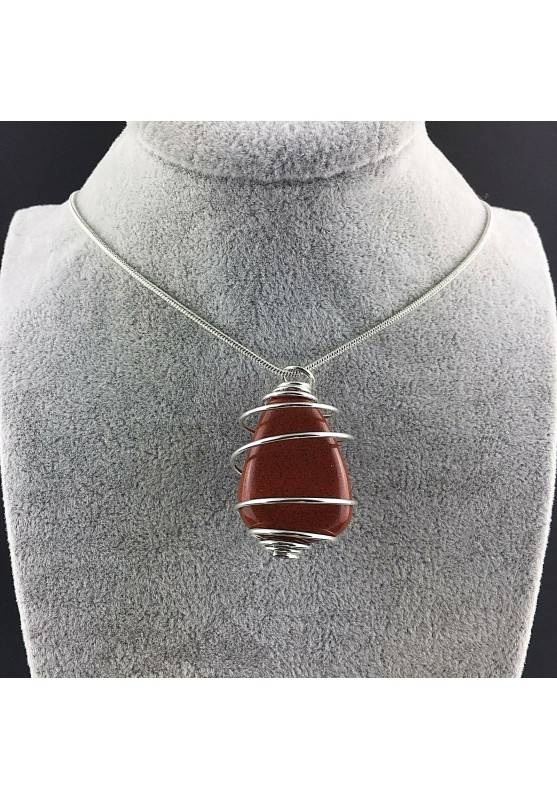 Pendant in Red Jasper Hand Made on Silver Plated Spiral Crystal Healing Minerals A+-3