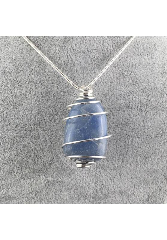 Quartz BLUE DUMORTIERITE Pendant Thumbstone Hand Made on SILVER Plated Spiral A+-1