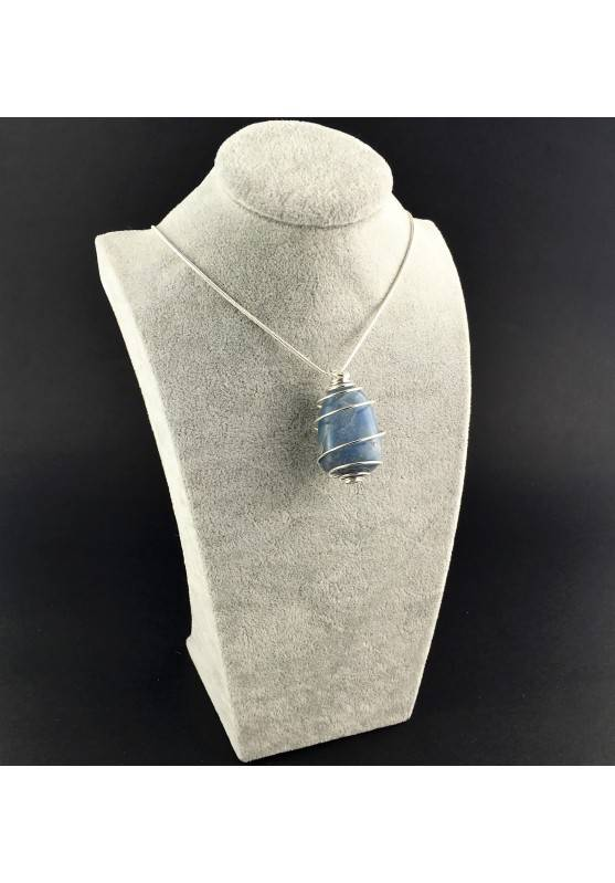 Quartz BLUE DUMORTIERITE Pendant Thumbstone Hand Made on SILVER Plated Spiral A+-3