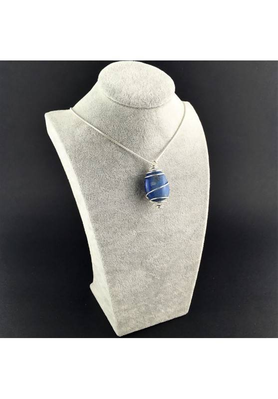 Quartz BLUE DUMORTIERITE Pendant Thumbstone Hand Made on SILVER Plated Spiral A+-6