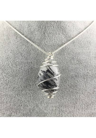 Pendant Quartz with Tourmaline Hand Made on SILVER Plated Spiral A+-1