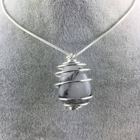 Pendant Quartz with Tourmaline Hand Made on SILVER Plated Spiral A+-4