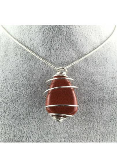 Pendant in Red Jasper - ARIES Zodiac Silver Plated Spiral Gift Idea A+-1