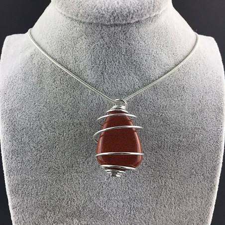 Pendant in Red Jasper - ARIES Zodiac Silver Plated Spiral Gift Idea A+-3