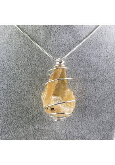 HONEY CALCITE Pendant Rough Hand Made on SILVER Plated Spiral-1